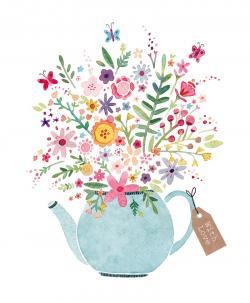 Floral clipart teapot