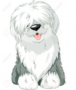 Old English Sheepdog clipart fluffy dog