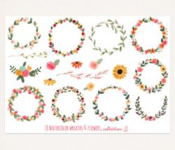 Typography clipart flower wreath