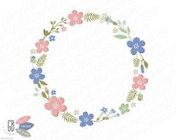 Folk clipart floral ring
