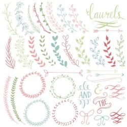 Typography clipart leaf wreath