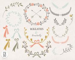Folk clipart vintage floral wreath
