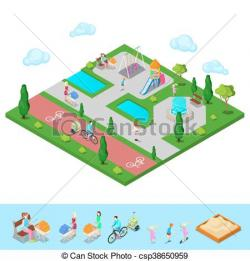 Fountain clipart isometric
