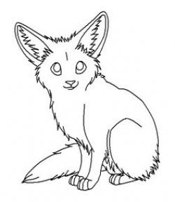 Fennec Fox clipart black and white