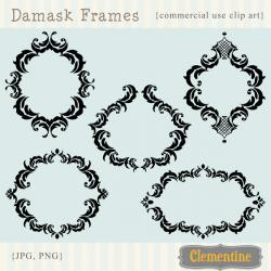 Damask clipart frame