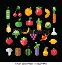 Fruits & Vegetables clipart flat design