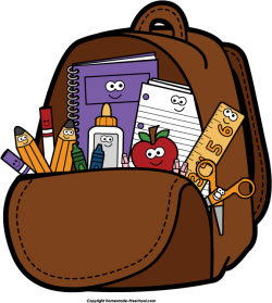 Homework clipart backpack