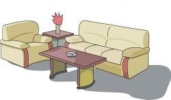 Living Room clipart sofa set