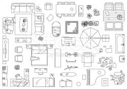 Furniture clipart birds eye view