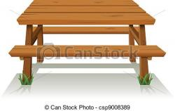 Bench clipart wood table