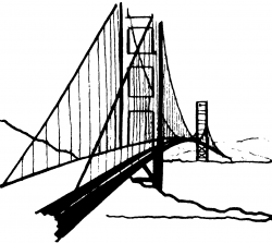 Golden Gate clipart black and white