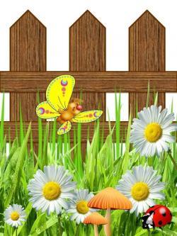 Fence clipart flower gardening
