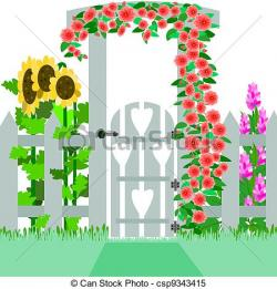 Gate clipart flower garden