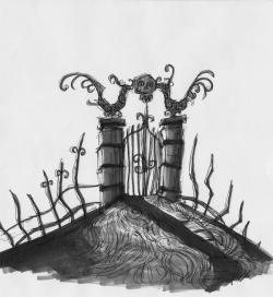 Drawn cenetery gate