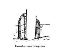 Drawn graveyard gate