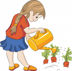 Watering Can clipart child gardening