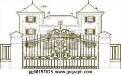 Gate clipart mansion