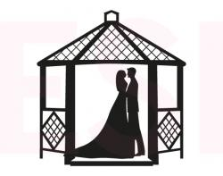 Gazebo clipart black and white