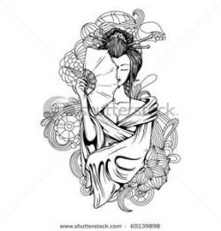 Geisha clipart black and white