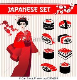 Geisha clipart japanese traditional art