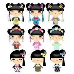 Geisha clipart kokeshi doll