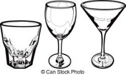 Drawn spectacles drinking glass