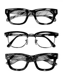 Drawn spectacles transparent