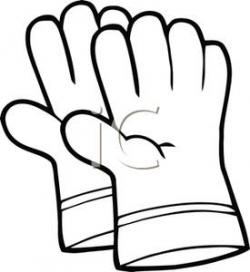 Glove clipart black and white