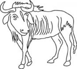 Wildebeest clipart black and white