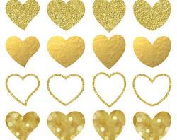 Hearts clipart gold glitter heart