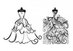 White Dress clipart modern bride