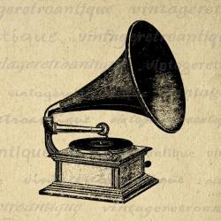 Gramophone clipart vintage music