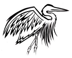 Great Blue Heron clipart tribal