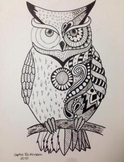 Drawn owlet abstract