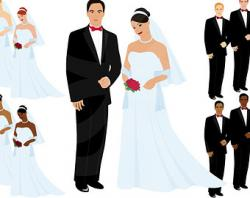 Korean clipart bride and groom