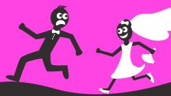Groom clipart running away