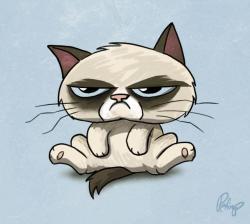 Drawn grumpy cat angry
