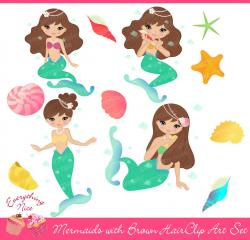 Mermaid clipart brunette
