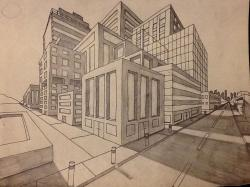 Drawn bulding  perspective