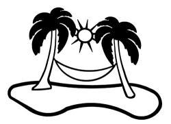 Drawn palm tree hammock