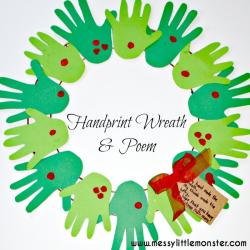 Handprint clipart wreath