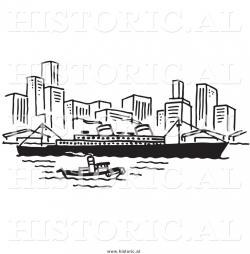 Harbor clipart black and white