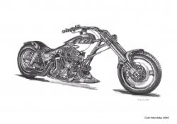 Harley Davidson clipart pencil sketch
