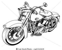 Motorcycle clipart line drawing