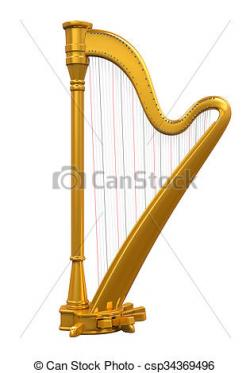 Harp clipart gold