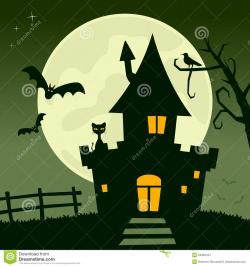 Haunted clipart halloween full moon