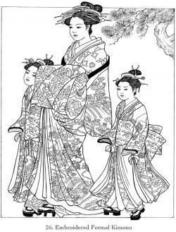 Kimono clipart coloring page