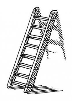 Drawn stairs ladder