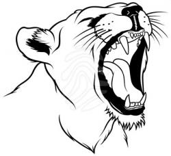 Lioness clipart black and white