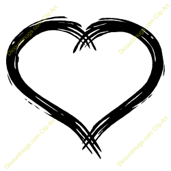 Heart-shaped clipart brush stroke